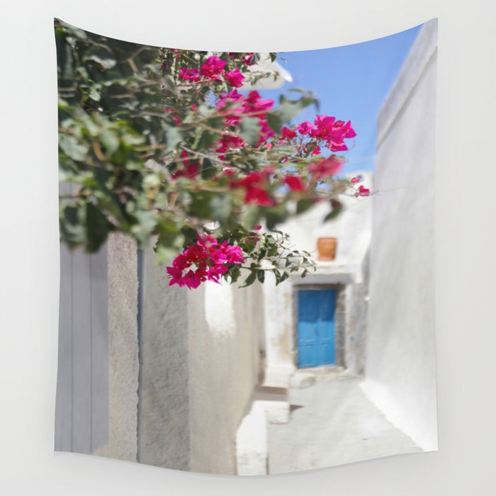 54fd0613d4bd Blue Door with Pink Flowers Santorini Greece Wall Tapestry by ...