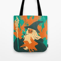 the hobbit Tote Bags featuring The Hobbit by Greg Wright