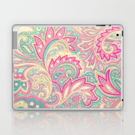 Pink Turquoise Girly Chic Floral Paisley Pattern Laptop & iPad Skin