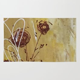 Yellow Tan Spring Abstract Flowers. Jodilynpaintings. Abstract Floral Rug