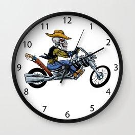 skull ride a big motorcycle Wall Clock