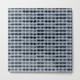 Shibori Frequency Horizontal Navy and Grey Metal Print