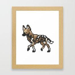 8-bit African Wild Dog Framed Art Print