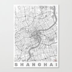 Shanghai Map Line Canvas Print