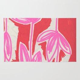 Red and Pink Sketchbook Botanical Rug