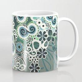 Diagonal flower – blue and green fiber Coffee Mug