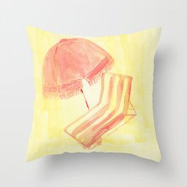 Striped Deck Chair Throw Pillow