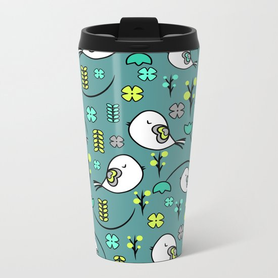 Cute birds and flowers Metal Travel Mug