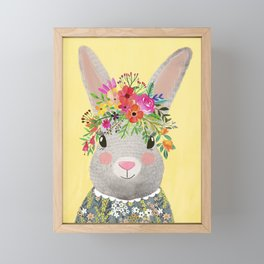 Rabbit with floral crown Framed Mini Art Print