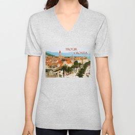 Cityscape of Trogir Croatia Unisex V-Neck