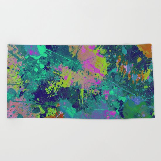 Messy Art I - Abstract, paint splatter painting, random, chaotic and messy artwork Beach Towel