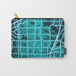 Plano, TX, USA, Blue, White, Neon, Glow, City, Map Carry-All Pouch