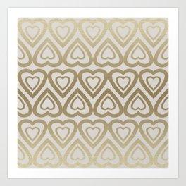 Golden Hearts Valentine - Gold Art Print