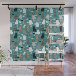 Cat Sushi pattern by pet friendly cute cat gifts for pet lovers foodies kitchen Wall Mural
