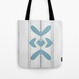 Decorative Abstract Heart Design over Wood Tote Bag