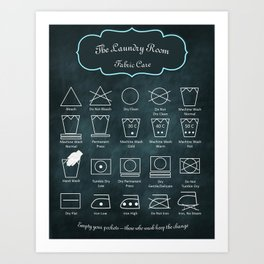 The Laundry Room Fabric Care Guide - Teal on Black Art Print