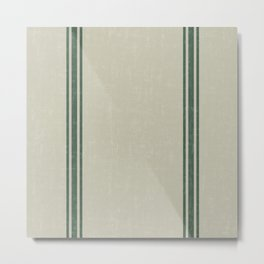 Vintage Country French Grainsack Green Stripes Linen Color Background Metal Print