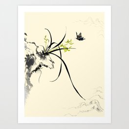 Orchid   Butterfly Chinese Ink  Painting Art Print