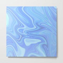 PASTEL BLUE LIQUID MARBLING Metal Print