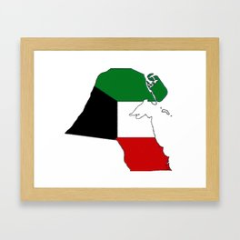 Kuwait Map with Kuwaiti Flag Framed Art Print