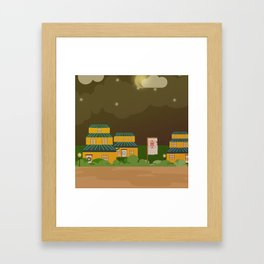 Four houses in the night Framed Art Print