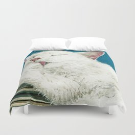 White Cat Grooming Duvet Cover