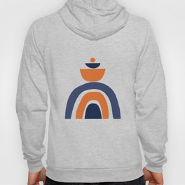 Abstract Shapes 14 in Burnt Orange and Navy Blue (Rainbow and Moon Phases Abstraction) Hoody