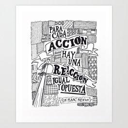 Tercera Ley de Newton Art Print