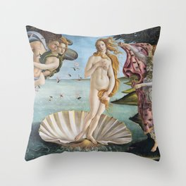 Botticelli's The Birth of Venus (High Resolution) Throw Pillow