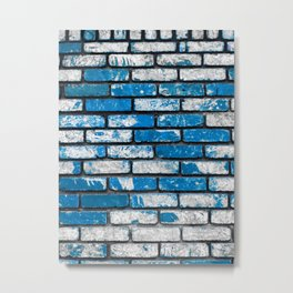 brick wall background in blue and white Metal Print