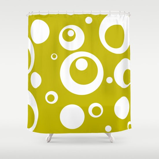 Circles Dots Bubbles :: Citron Shower Curtain