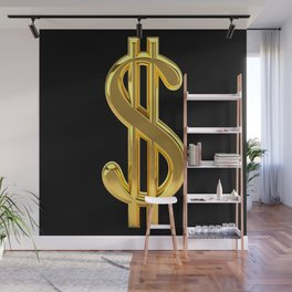 Gold Dollar Sign Black Background Wall Mural