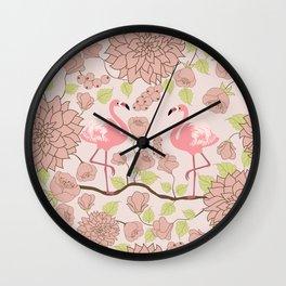 Flamingo Perch Pattern Wall Clock