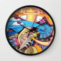 ice cream Wall Clocks featuring Ice Cream by Yuliya