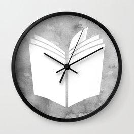 Watercolour Book (Grey) Wall Clock