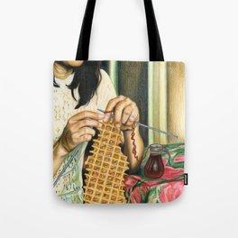 Knitting Waffles Tote Bag