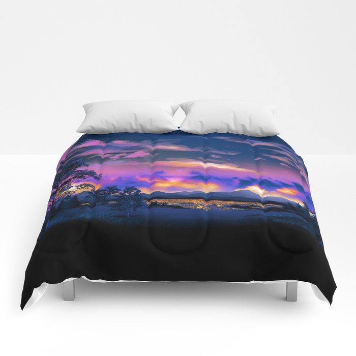Night Sky Sunset Comforters