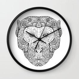 Rhesus Macaque Head Front Mandala Wall Clock