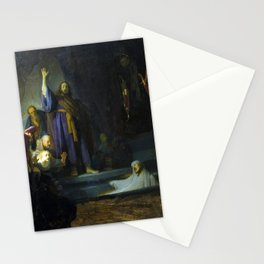 The Raising of Lazarus by Rembrandt (1632) Stationery Cards