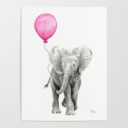 Baby Elephant with Pink Balloon Poster