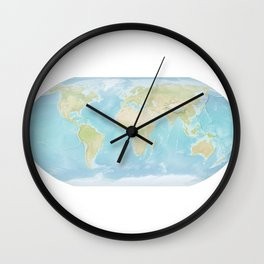 Minimalist Physical Map of the World Wall Clock