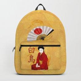 Swan Japanese Geisha Folk Art Backpack