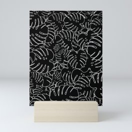 Monstera Leaves Pattern Black Mini Art Print