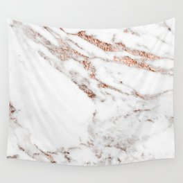 Rose gold foil marble Wall Tapestry