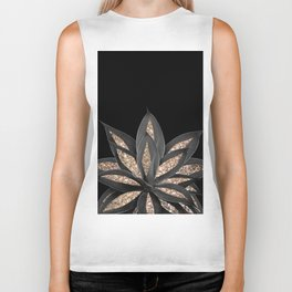 Gray Black Agave with Gold Glitter #1 #shiny #tropical #decor #art #society6 Biker Tank