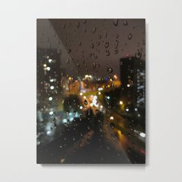 Rainy Night City Metal Print