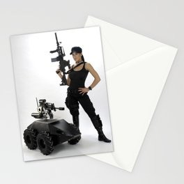 Swat Chick- Girl with SWAT Gear, Military Gun and Tactical Robot Stationery Cards