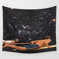 surfer Wall Tapestries featuring Space Surfer by Makar Deku