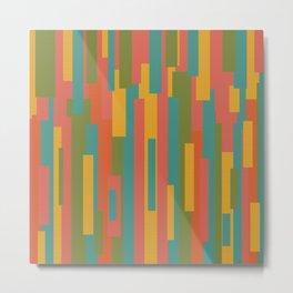 Festiva Geometric Mid Mod Pattern 2 (Textured) - Coral Pink, Orange, Mustard, Teal, and Olive Green Metal Print