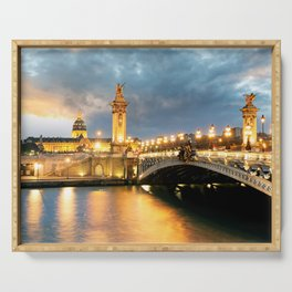 Night view of Paris Bridge Alexandre III Serving Tray